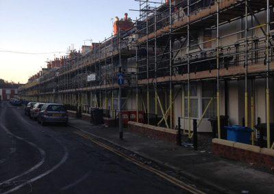 External wall insulation scaffolding